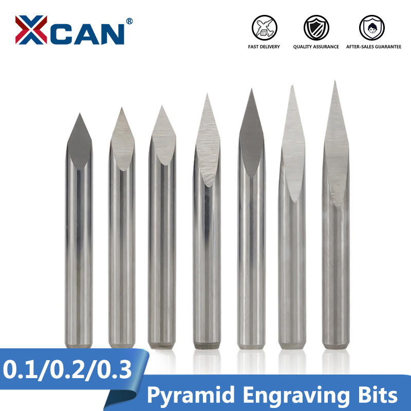 XCAN 3 Edge Pyramid Engraving Bits 10pcs 20 30 40 45 60 90 Degrees Tip 0 1-0 3mm 3 175mm Shank CNC 3D Milling Cutter