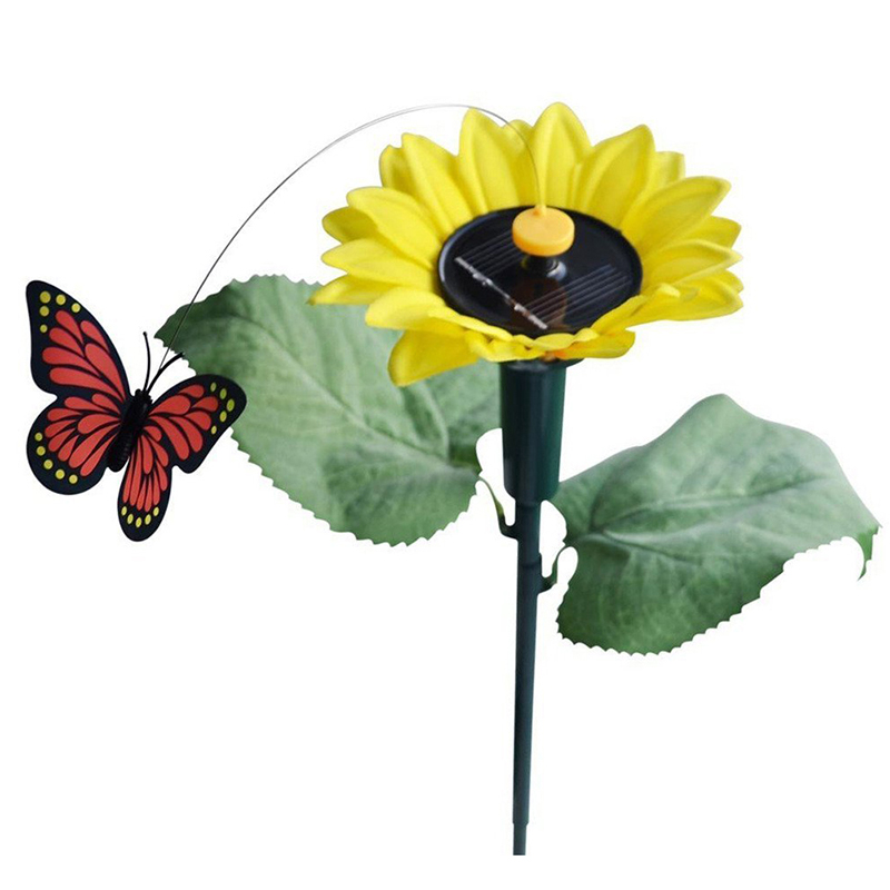 1x Dancing Solar / Battery Sunflower With Butterfly On Garden Tufts Garden Lawn Flowerpot Flowerbed Decoration Ornament Color Ra