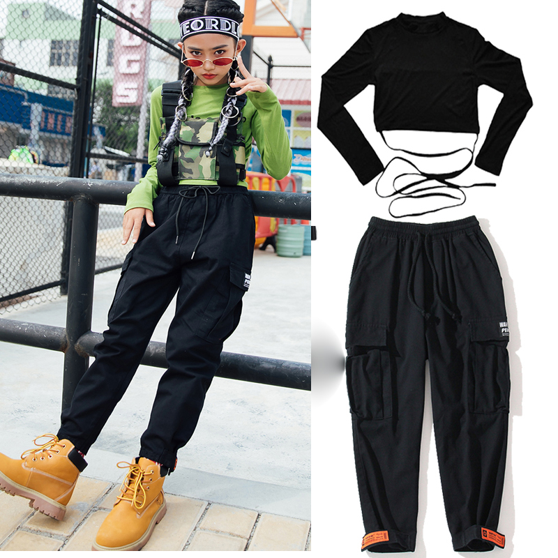 Kids  Jazz Dance Costume Hip Hop Clothing Green Shirt Black SweatPants For Girls Ballroom Dancing Clothes Stage Outfits DQS3187