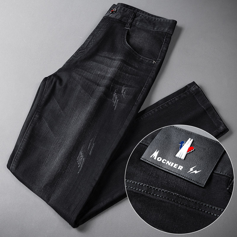 2019 Summer Book-Men's Trousers Medium Waist Elasticity Straight-Cut Business Jeans MEN'S Black Craft Cowboy Trousers Wholesale