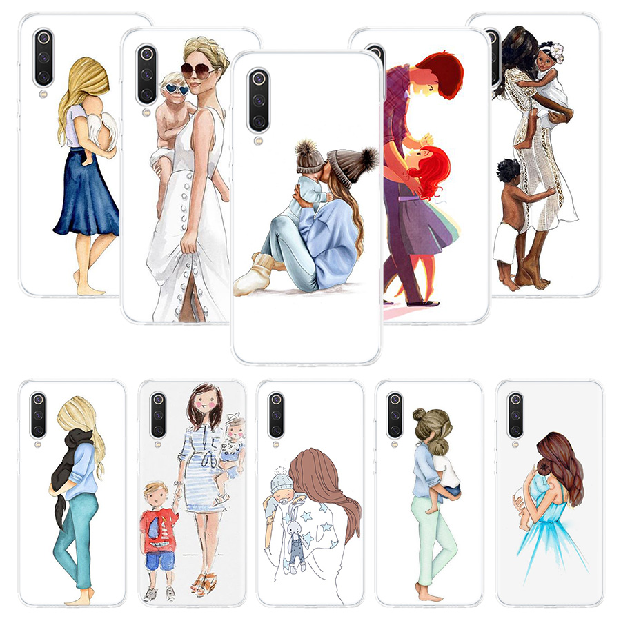Black Brown Hair Baby Mom Girl Queen Case For Xiaomi Redmi Note 10 9 9S 8 7 6 8T 8A 7A 6A S2 K30 K20 MI 9 8 CC9 F1 Lite Pro Soft