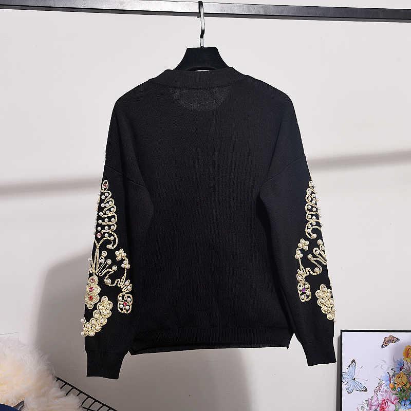 가을 새로운 2 조각 세트 여성 풀오버 패션 자수 구슬 긴 소매 니트 스웨터 + 캐주얼 바지 니트 세트 여성 탑스
