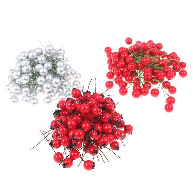 100 pièces décoratif Mini noël givré baie artificielle vif rouge houx baies de houx maison garlandbeauty