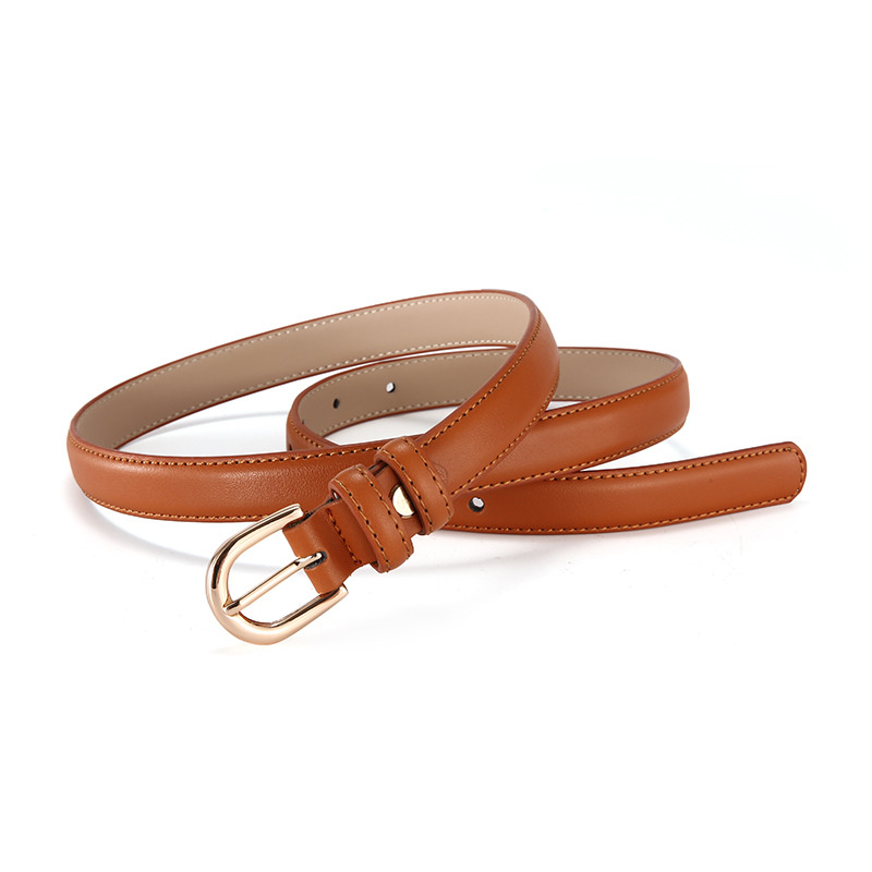 2019 New Women 39 s Fashion Belts Skinny Thin Belt for Dress Jeans with Golden Pin Buckle Designer Cowhide Belt Female Waist Strap in Women 39 s Belts from Apparel Accessories