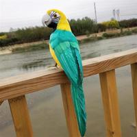 coloured green feathers parrot turn head bird about 35cm hard model Photography prop,home garden decoration toy gift s1577