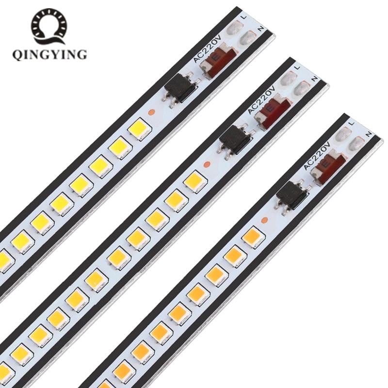 Bande lumineuse rigide, 5-20 pièces, ac 220v barre de LED, 20/30/40/50cm, chaud/blanc, vert, bleu, haute luminosité, SMD 2835 LED, 72 diodes