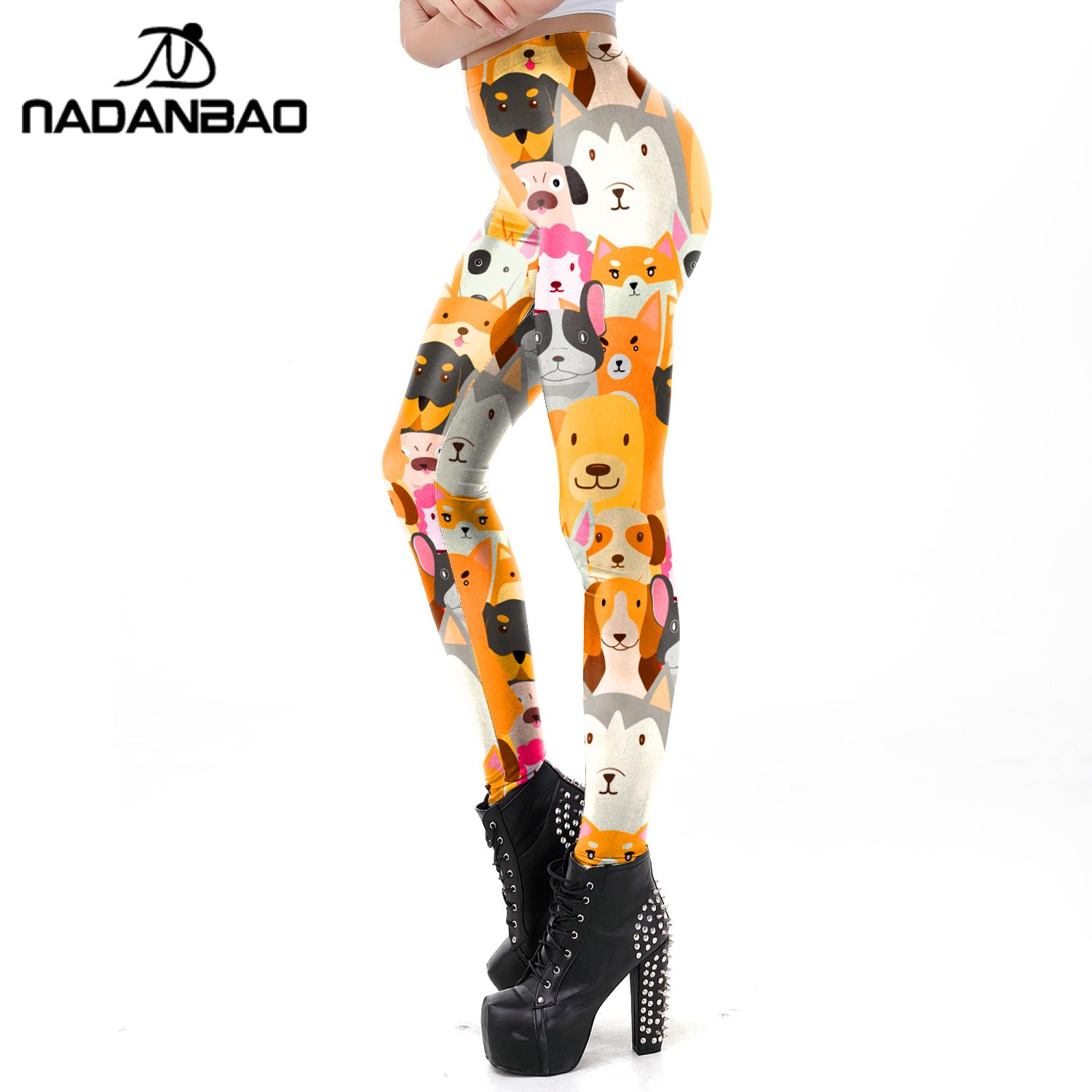 NADANBAO Fashion Cute Dog Digital Printed Leggings Women Elastic Leggings High Waist 3D Animals Trousers Movement Legins