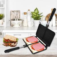 Two hole Sandwich maker Frying Pan Non stick Frying Pan Cake Barbecue Steak Breakfast Pot Dish Kitchen Sandwich Maker Pan