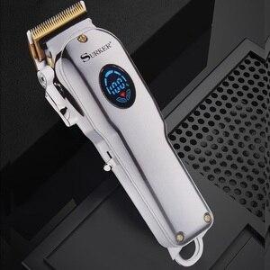 Image 2 - Tông Đơ Cắt Tóc Chuyên Nghiệp Tóc Nam Tóc LCD Điện Máy Cắt Titanium Lưỡi Dao Cắt Tóc Sạc Usb