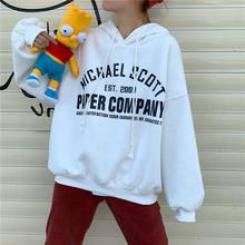 Moletom com capuz feminino casual hoodie coreano carta impressa harajuku crewneck moletom feminino outono carta impressão hoodies roupas adolescentes
