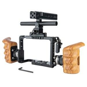 Image 3 - Niceyrigلسوني A7RIII/A7MIII/A7RII/A7SII/A7III/A7II هيكل قفصي الشكل للكاميرا عدة مع مقبض خشبي قبضة HDMI مشبك كابلات أري جبل