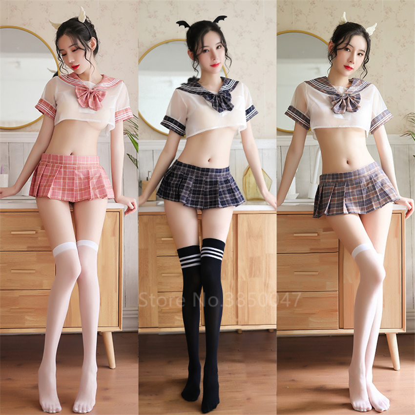 Women Sexy School Uniform Japanese Style College Student JK Suit Top Pleated Skirts Mini Girl Sailor Lingerie Cosplay Costume