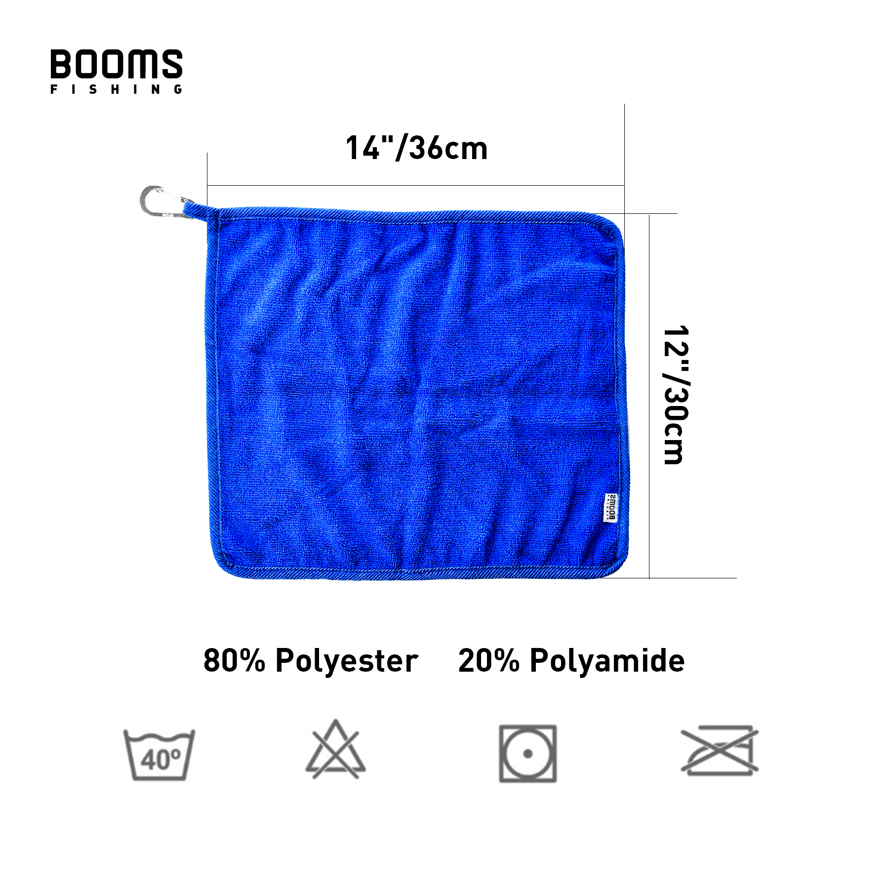 Booms Fishing B0T Microfiber Fishing Towel with Clip