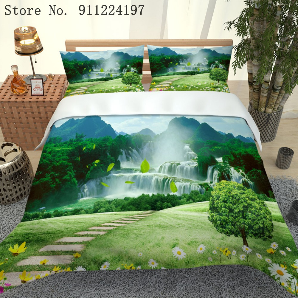 Home Textile Natural Scenery Pattern Bed Linens 3D Landscape Forest Waterfall Print Queen Bedding Duvet Cover Set Bedspreads
