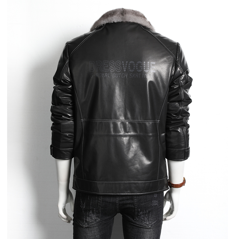 Winter Genuine Leather Jacket Men Real Mink Fur Coats Goatskin Leather Coat Luxury Natural Fur Jackets 2020 9102 KJ4034