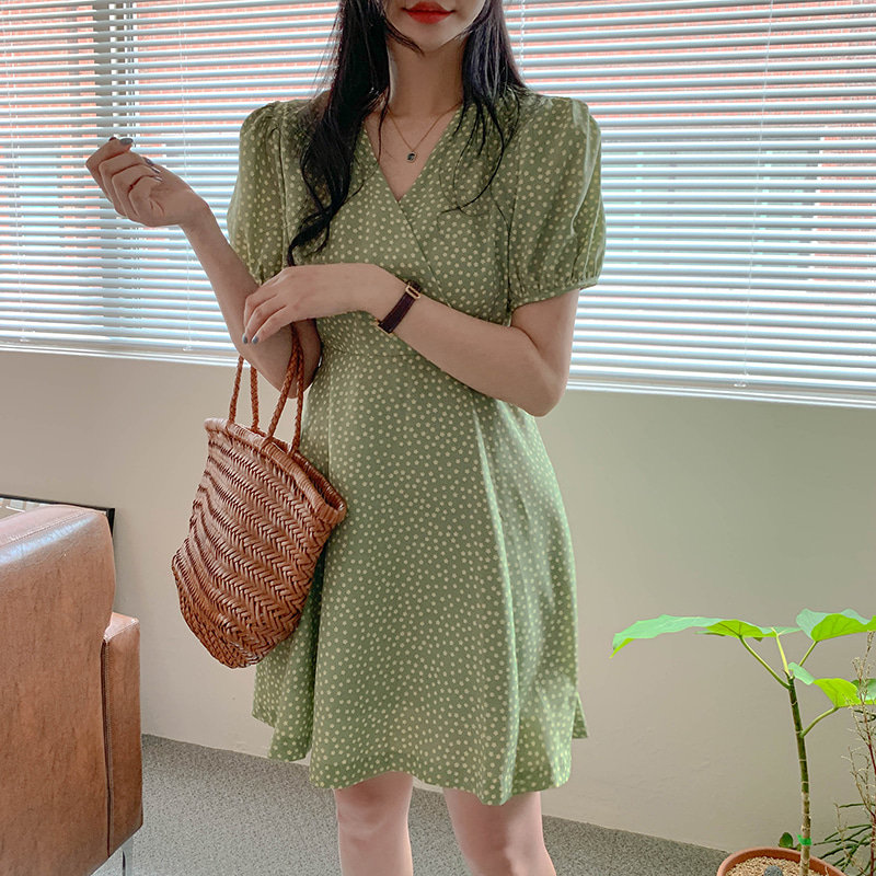Alien Kitty 2020 Floral Chic New Short Puff Sleeves Hot Fresh Elegant Chic V-Neck Sweet Waist-Controlled Women Mini Dresses