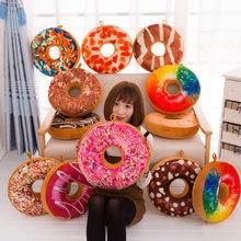 Novo de pelúcia macio donut donut comida volta almofada travesseiro sela carro conjunto crianças presente