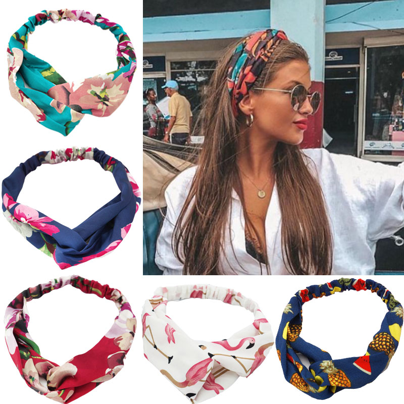 Bohemian Hairbands Print Headbands For Women Girls Retro Cross Knot Turban Bandanas Ladies Headwear Hair Accessories Scrunchie