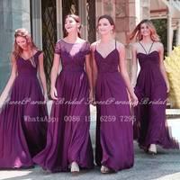 Flowing Purple Chiffon Long Bridesmaid Dresses With Appliques 2020 Wholesale Women A Line Wedding Party Dress Vestidos