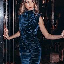 Velvet Dress Robe Party-Wear Sexy Bodycon Blue Turtleneck Pleated Sleeveless Solid Mini