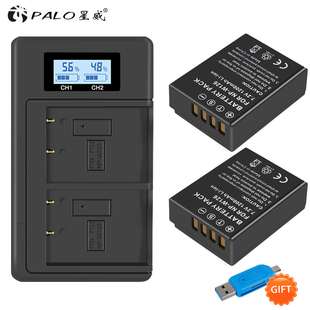 PALO LCD NPW126 USB Digital Charger+2pc NP W126 NP-W126s Camera Battery For Fujifilm Fuji X100F XPRO1 X-A1 HS50EXR XT1 X-T2 X-E1