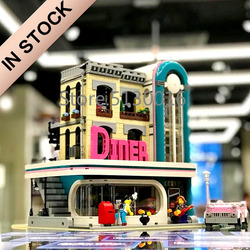 10260 IN STOCK Creator Downtown Diners 15037 2480Pcs Street View Model Building Blocks Bricks 15001 15001 15042 10270 15002 Toy