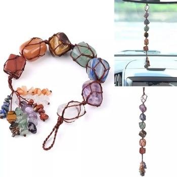 7 Cristales de Chakra adorno colgante, ornamento para ventana de piedras preciosas, ornamento de Feng Shui, meditación de Yoga