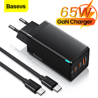 Caricabatterie USB Baseus 65W GaN Quick Charge 4.0 QC3.0 PD caricabatterie rapido tipo C per iPhone 12 Pro Samsung Xiaomi Macbook iPad