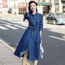 Европейская мода Джинсовая рубашка платье для женщин с длинным рукавом синие джинсы платья карманами весна осень ретро одежда