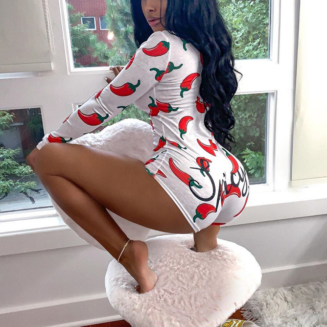 FCCEXIO Womens Sexy V-Neck Long Sleeve Skinny Bodycon Casual Peachy Spicy Print Button Sleepwear Jumpsuit Shorts Romper Leotard 2