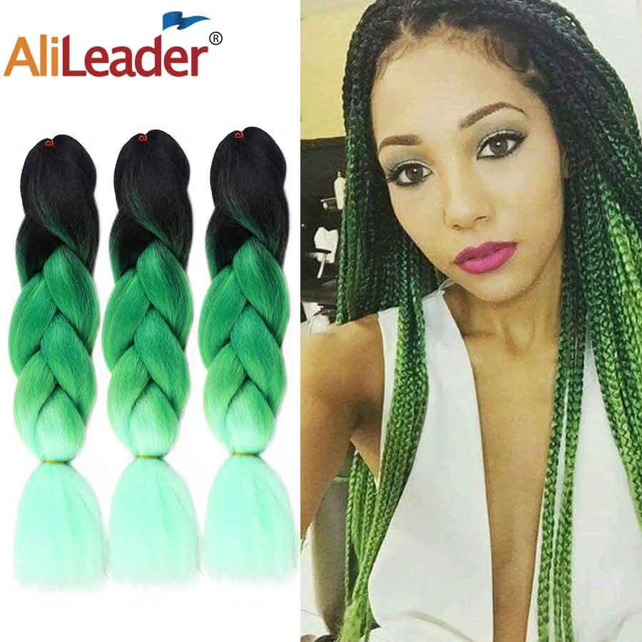 Alileader 24 Inch Jumbo Braids Crochet Hair Synthetic Ombre Braiding Hair Extensions For Crochet Braids 103 Colors Rainbow Hair