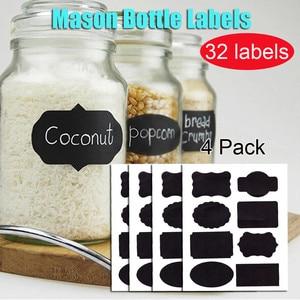 32PCS Spice Stickers Waterproof Chalkboard Labels For Regular/Wide Mouth Mason Jar Kitchen Spice Label Home Jars Bottles Tags