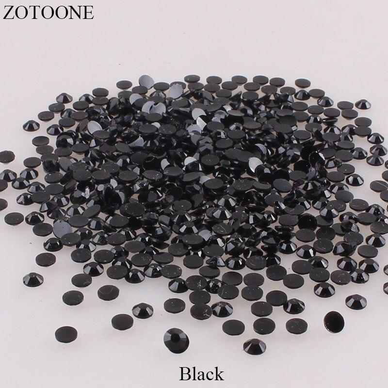 Стразы ZOTOONE для дизайна ногтей, 1000 шт., черные стразы из полимера, не требующие горячей фиксации, аксессуары для дизайна ногтей
