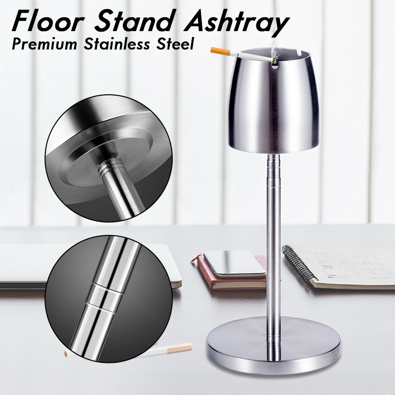 Portable Adjustable Height Telescopic Standing Ashtray Stainless Steel Floor Stand Ash Tray For Office Home Smoking Accessories