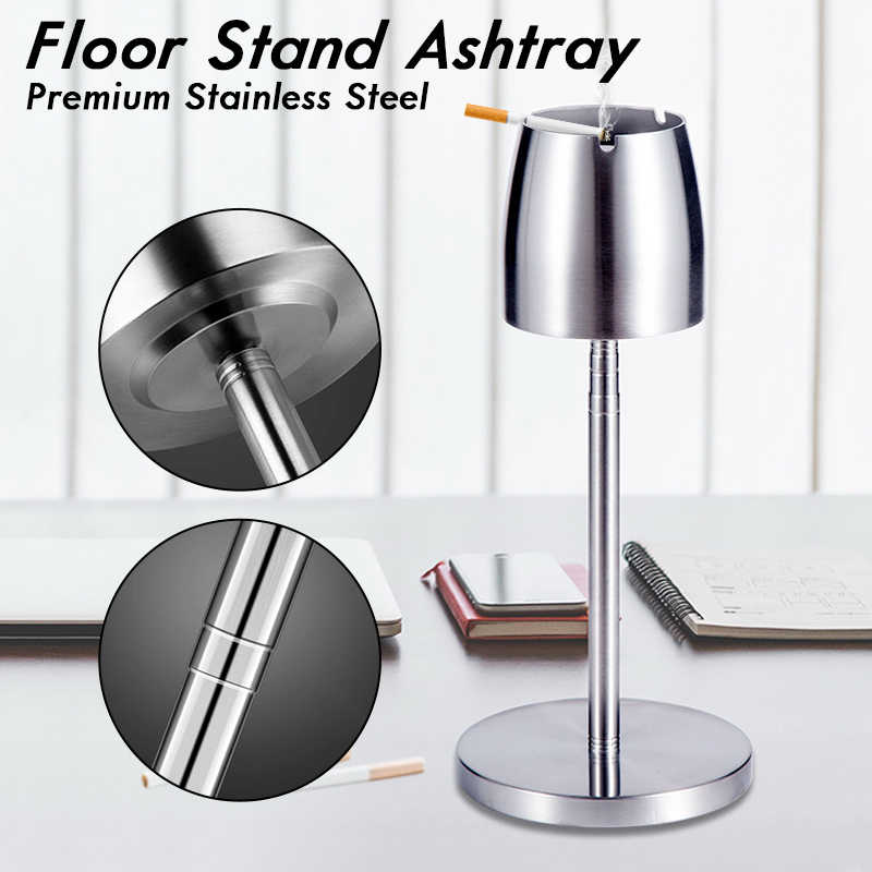 Telescopic Stainless Steel Ashtray Container Adjustable Height from 21.8cm to 56.2cm Household Windproof Round Ashtray Floor Standing Ashtray