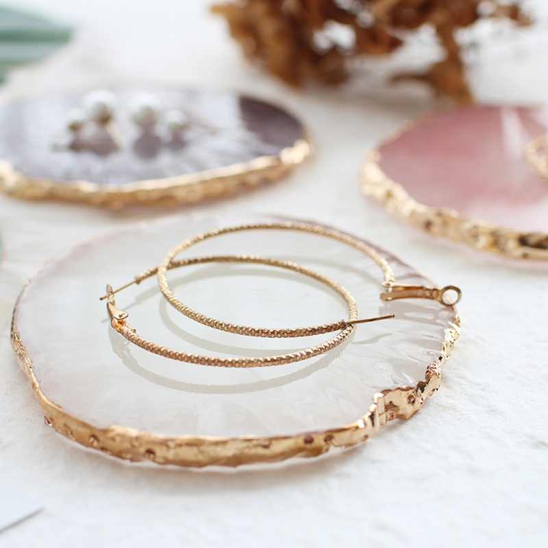 Circular Resin Agate Piece Jewelry Display Board Household Nail Palette Photography Props
