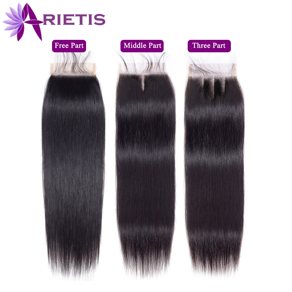 """Arietis Hair 4"""" x 4"""" Lace Closure Straight Human Hair Brazilian Free/Middle/Three Part 100% Remy Lace Closure 8-20 Inch Natural"""