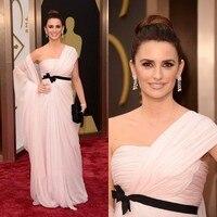 2019 Oscars One Shoulder Evening Dress Penelope Cruz Chiffon 86th Academy Awards Red Carpet Celebrity Dress