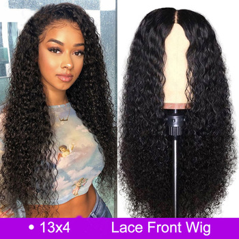 Kinky Curly Human Hair Wigs 13x4 Peruvian Human Hair Wigs Natural Color Remy Lace Front Human Hair Wigs With Babay hair