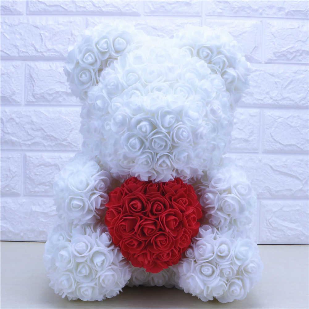 35 Cm chaud saint valentin cadeau rouge Rose ours en peluche en fleurs artificielles et séchées décoration artificielle cadeaux de noël femmes