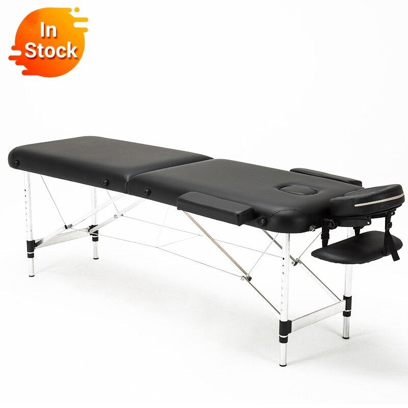 Cama de belleza plegable, mesas de masaje de Spa portátiles profesionales, ligeras, plegables con bolsa, muebles de salón, aleación de aluminio