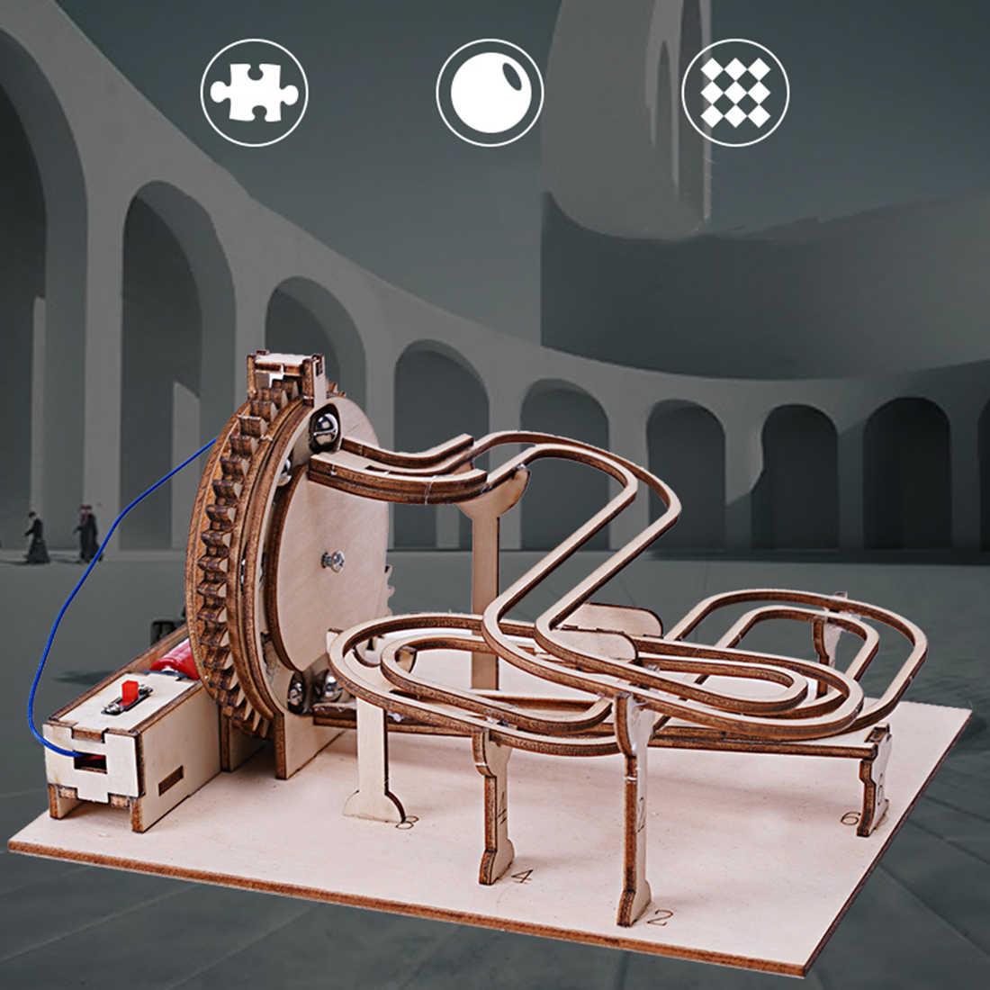 Marble Run Gear-Conjunto de transmisión de marmol, modelo de construcción, rompecabezas 3D de madera, modelo de juguete, regalos