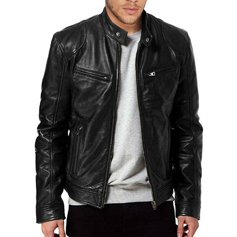 US $28.51 50% OFF|Helisopus New Autumn Winter PU Leather Jacket Men Stand Collar Motorcycle Leather Bomber Jacket Streetwear Casual Tops|Faux Leather Coats| |  - AliExpress