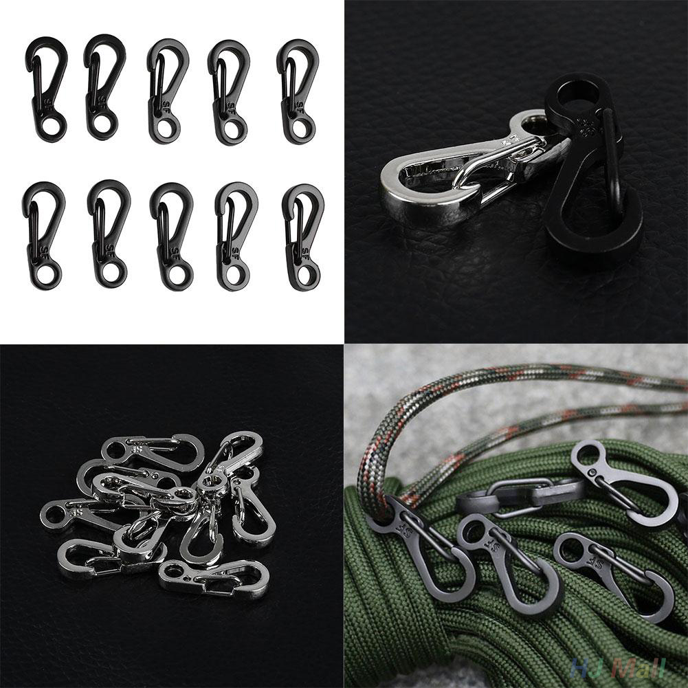 10PCS Mini Climbing Paracord Carabiners Spring Clasps Bottle Survival Gear Keychain