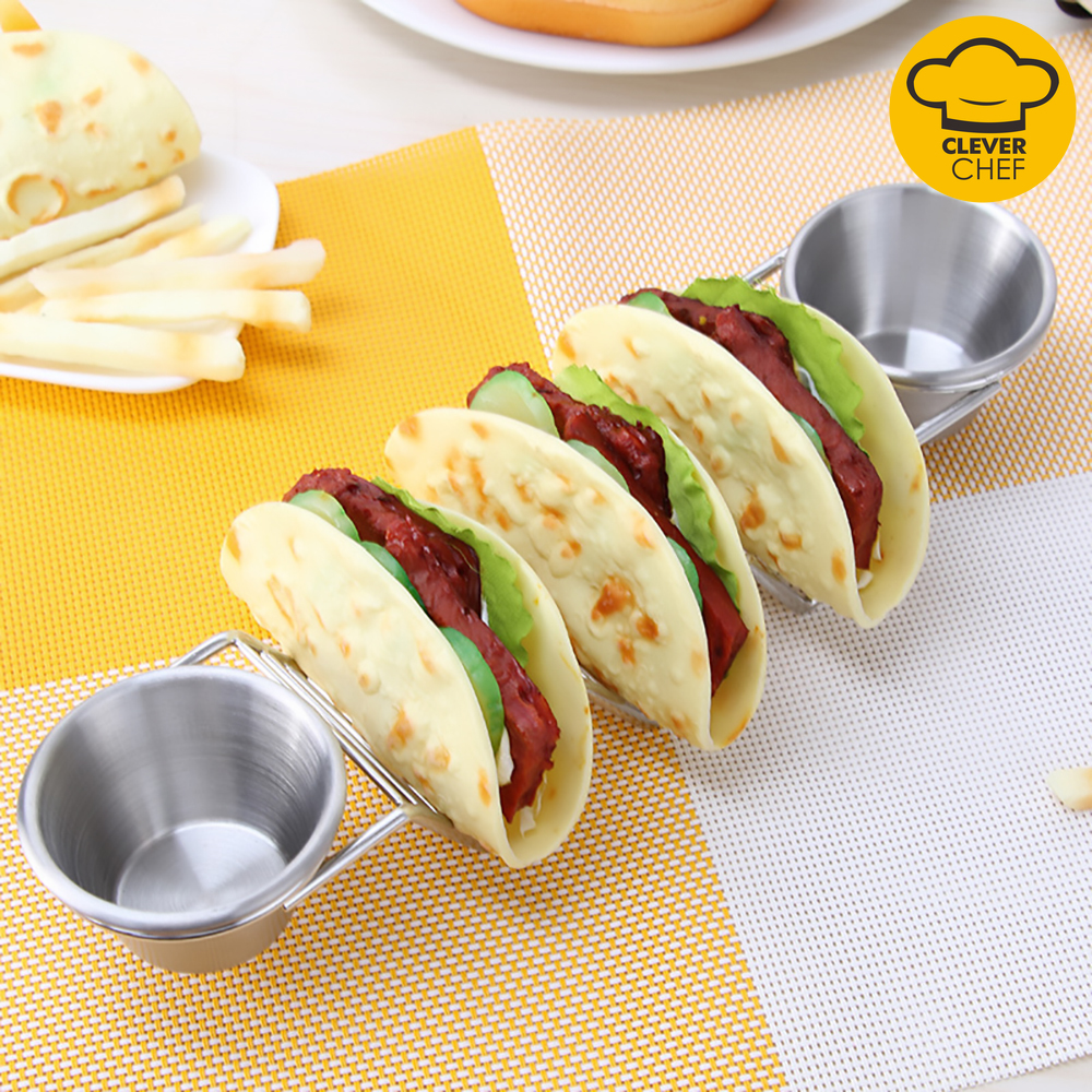 Mosodo Mexican Restaurant Stainless Steel Pancake Rack Taco Holder Pizza Display Stand Spring Roll Food Rack Kitchen Tools