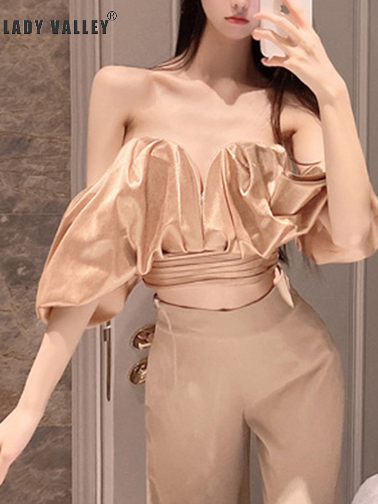 Free shipping Leaky shoulders Tube tops Pleated bandages Waist shorts <font><b>Shirts</b></font> Women Spring and summer Leaking <font><b>belly</b></font> button image