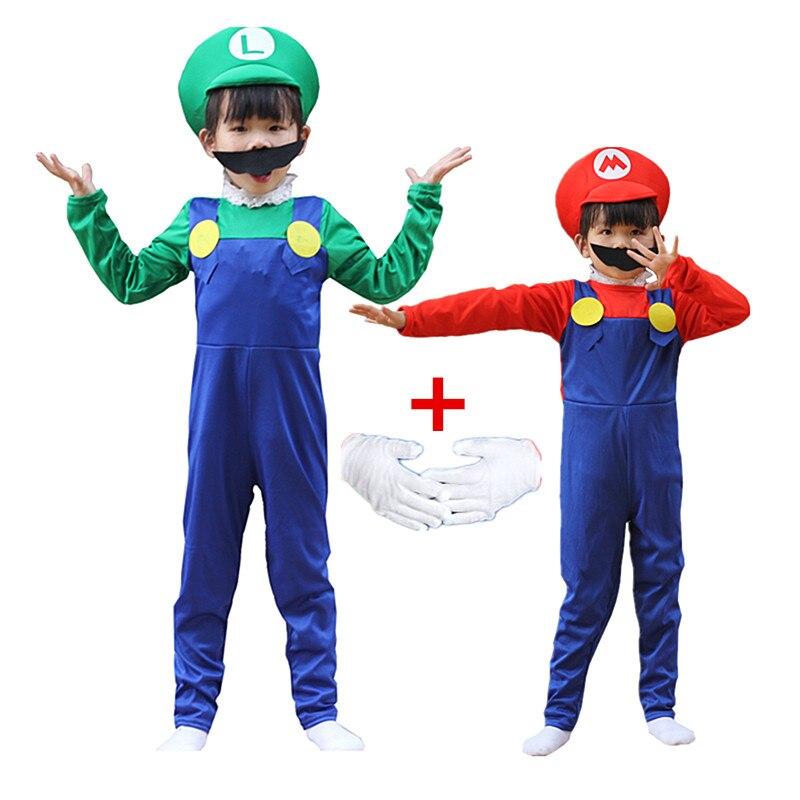 Disfraces de Halloween de Anime para niños y niñas, mono de Cosplay divertido de Super Mari, Luigi, Brother