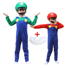 Child Anime Funny Halloween Costumes Super Mari Luigi Brother Costume Kids Children Boys Girls Fancy Cosplay Jumpsuit