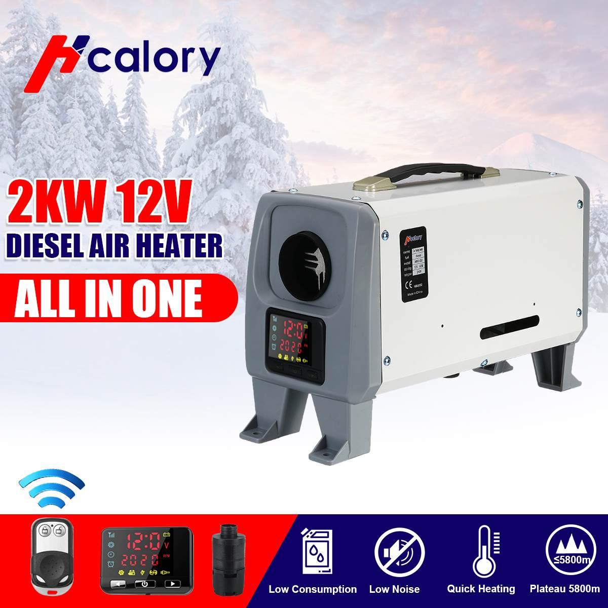 12V 2KW Car Heating Tool Diesel Air Heater Single Hole LCD Monitor Parking Warmer For Car Bus Boat RV,motorhome,truck Trailer