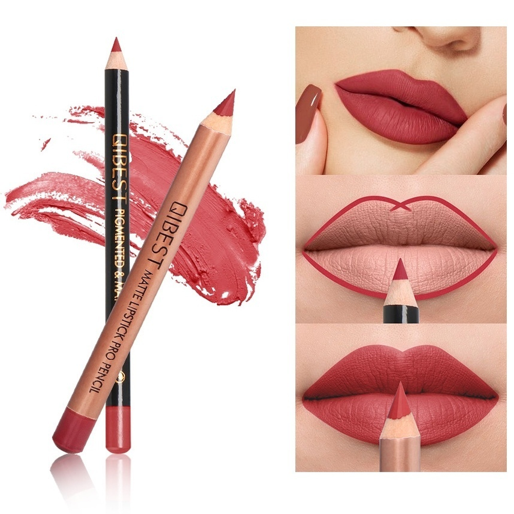 2Pcs/Set 15Color Nude Matte Lipstick Pen with Lip Liner Set Waterproof Lip Set Focallure Makeup Product Brown Women Beauty Tools